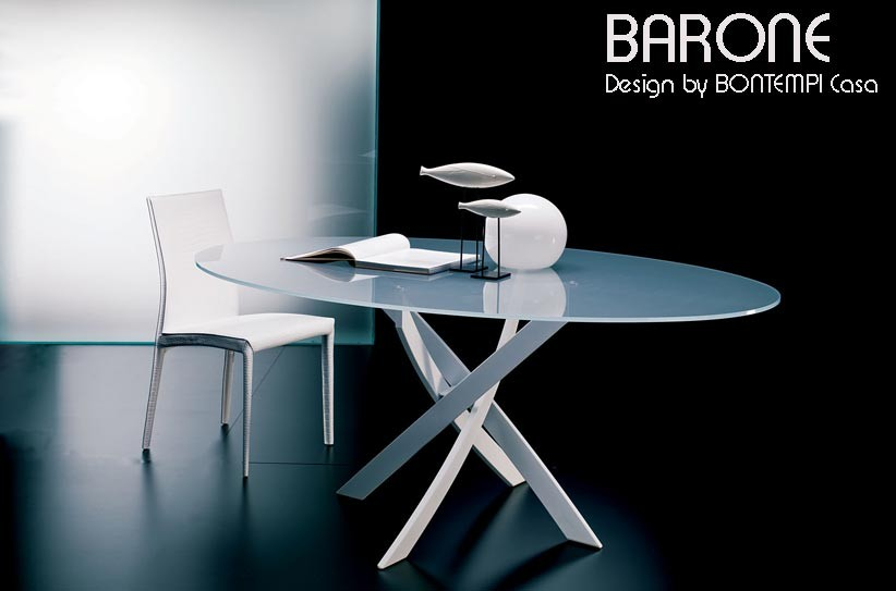 Table ovale barone acier et verre 180x115 cm design by - Table ovale en verre design ...