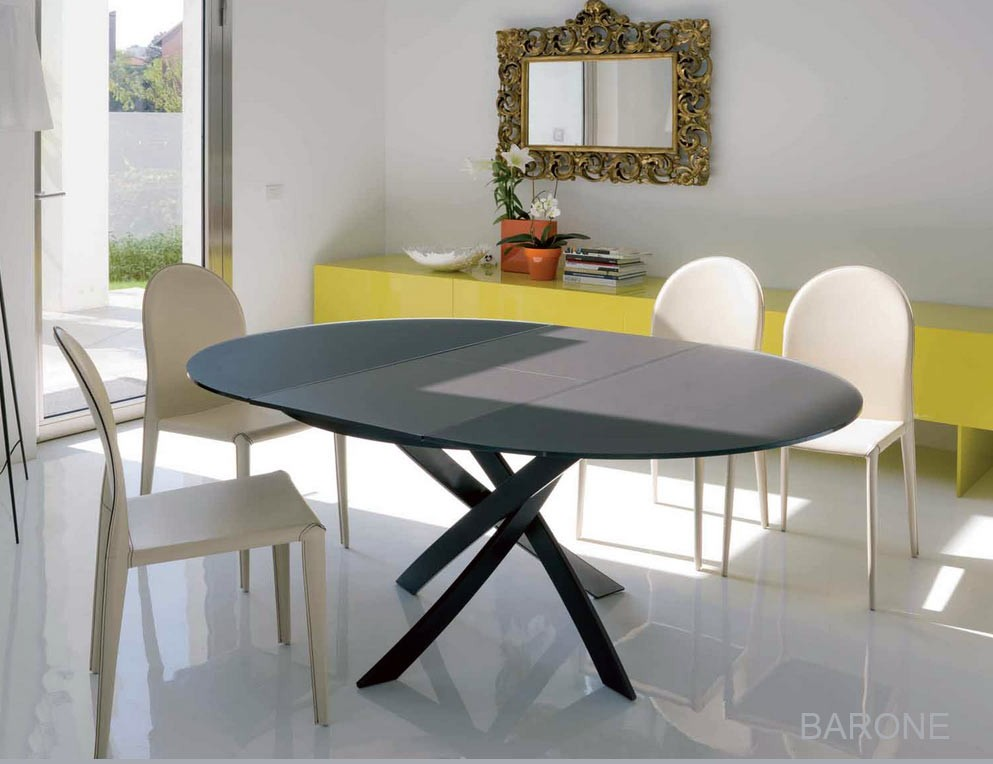 Table ronde extensible barone acier et verre d 125 l175 cm design by bontempi casa - Table ronde en verre design ...