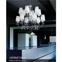 Lustre HERMITAGE LA12, Swarowsky et Organdi, Design Stefano Mandruzzato