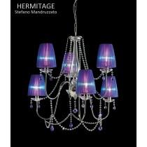 Lustre HERMITAGE LA6, Swarowsky et Organdi, Design Stefano Mandruzzato
