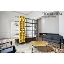 Table basse STOCKHOLM STK 605, Chêne, plateau Aluminium Or,  Ø 66 cm, Design Mario RUIZ