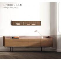 Etagère STOCKHOLM STK 402, plaqué Noyer super mat, 180x25x28 cm, Design Mario RUIZ
