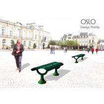 Banquette OSLO, Acier, vue avec option embase décorative