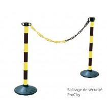 2 Potelets de balisage temporaire avec chaine de 2,5 m, H 90cm, Design ProCity