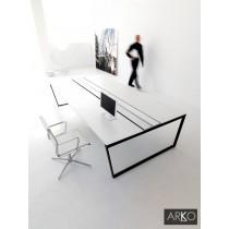 Bureau double ARKO FT, plateau Ivoire, 140 à 600 X 165 cm, IVM office