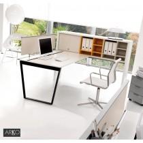 Bureau opératif ARKO FT et PONT ST, 120 à 200 X 85 cm, IVM office (vue avec Caisson, Casier à étagères et pare vue optionnel)