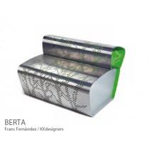 Bancs à dossier en Aluminium BERTA, ( vue avec peinture optionnelle )Design FRANC FERNÁNDEZ + KX DESIGNERS