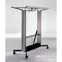 Chariot porte manteau FARGO FC 2P, porte parapluies, Aluminium, Design by Pascual SALVADOR