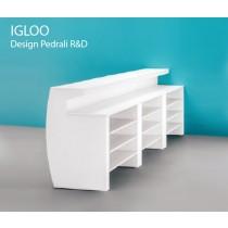 Bar IGLOO composé de 3 modules IGL, vue avec étagères optionnelles
