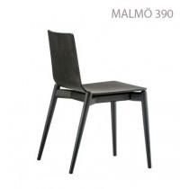 Chaise empilable MALMÖ 390, Frêne teinté Noir, Designers Cazzaniga - Mandelli - Pagliarulo