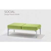 SOCIAL, Sofa 2DSO_2P,119 x 60 cm H 41 cm, Design Patrick JOUIN