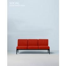 SOCIAL, Sofa 3L,178 x 66 cm H 78 cm, Design Patrick JOUIN