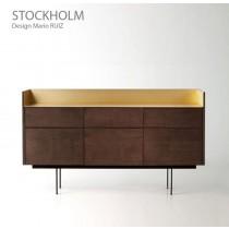 Buffet STOCKHOLM STK 103, plaqué Noyer naturel, 180x46x103 cm, Design Mario RUIZ