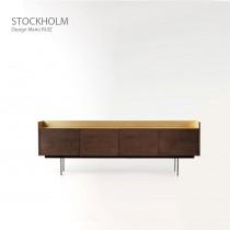 Buffet STOCKHOLM STK104, plaqué Noyer naturel, 238x46x78 cm, Design Mario RUIZ