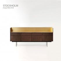 Buffet STOCKHOLM STK106, plaqué Noyer naturel, 238x46x103 cm, Design Mario RUIZ