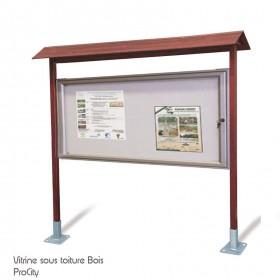 Vitrine d'informations extérieure double face, Bois et Aluminium, H 2.5 m, vitrine 100x201 cm, Design ProCity