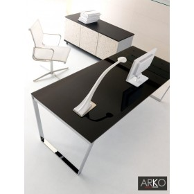 Bureau ARKO Executive, Chromé, plateau Wengé, 200 X 90 cm, IVM office