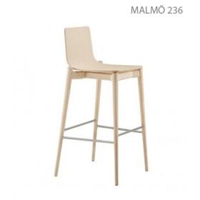 Tabouret MALMÖ 232, H 65 cm, Frêne blanchi, Designers Cazzaniga - Mandelli - Pagliarulo