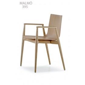 Fauteuil MALMÖ 395, Frêne blanchi, Designers Cazzaniga - Mandelli - Pagliarulo