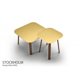 Table basse STOCKHOLM STK 704, Chêne, plateau Aluminium Or,  66x66 cm, Design Mario RUIZ